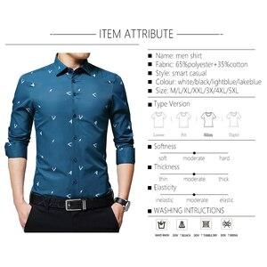 Image 3 - BROWON 2020 новые мужские рубашки с принтом Argyle жаккардовая деловая рубашка для мужчин с длинным рукавом, обычная посадка, нежелезный корейский стиль