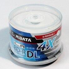 50 חבילה/אחד RIDATA/Ritek תיבת + איכות ריק הזרקת דיו להדפסה Blu Ray DL 2 8x כפולה שכבה 50GB BD DL דיסק מקורי עוגת תיבה