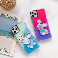 Funny Cute Mouse Liquid Quicksand Phone Case For iphone 11 Pro MAX SE XS MAX XR X 6 7 8 Plus Dynamic Glitter Cartoon Soft Cover liquid water case for iphone 11 pro max se 2020 dynamic quicksand glitter bling soft tpu case for iphone 6 7 8 plus xs xr cover
