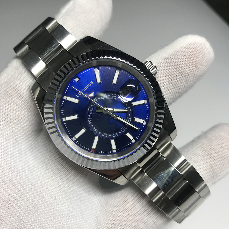 18k Gold Men Watch blue Dial Luxury brand Automatic SKY glide smooth second hand  Reloj Watches AAA