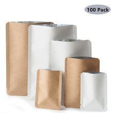 100Pcs/lot Kraft Paper Round Angle Open Top Aluminum Foil Heat Seal Package Bags Dried Fruit Nuts Retail Food Storage Bags