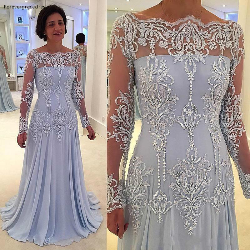 2020 <font><b>Mother</b></font> of the Bride Dresses Off Shoulder Sheer Long Sleeves Formal Godmother Evening Wedding Party Guests Gown Plus Size image