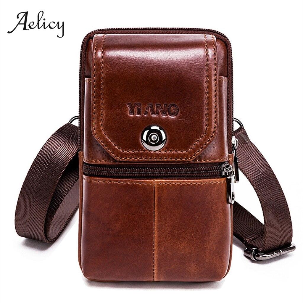 Aelicy Bags Messenger-Bag Small Genuine-Leather Belt Crossbody-Bag Men for Man Waist-Packs