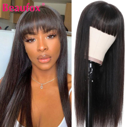 Beaufox Brazilian Straight Human Hair Wigs With Bangs Remy Full Machine Made Human Hair Wigs For Women 8-28 Inch Fringe Wig
