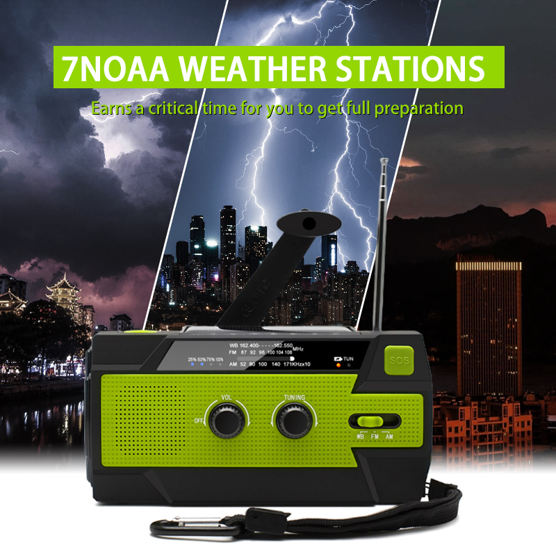 Outdoor Emergency Solar Hand Crank Weather Radio 4000mAh Power Bank Charger Flash Light Emergency Dynamo For Outdoor Activities 3