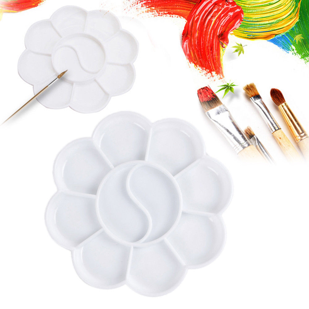 2Pcs 8 Cells Plum-shaped Paint Tray Artist Oil Watercolor White Paint Palette Plastic Art Paint Box DIY Graffiti Palette