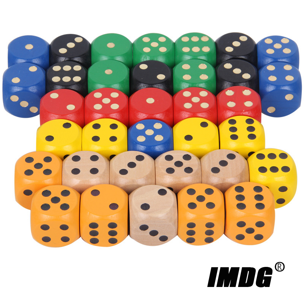 5pcs/pack Wood Dice 30mm Big Colorful Solid Wooden Black Dot Game Rounded Dice Drinking Mahjong Dice