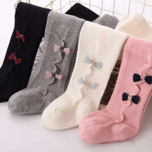 Kids Stockings Warm Tights Girl White Winter Cotton Cute Pink Autumn Black Grey Solid