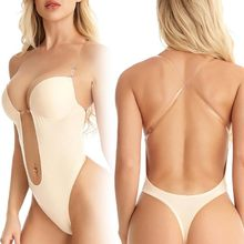 Body Tummy Shaper Shapewear Taille Trainer Shaper Vrouwen Diepe V Bodysuit Clear Strap Sexy Backless Plunge Thong Push Up Bh S-Xl(China)