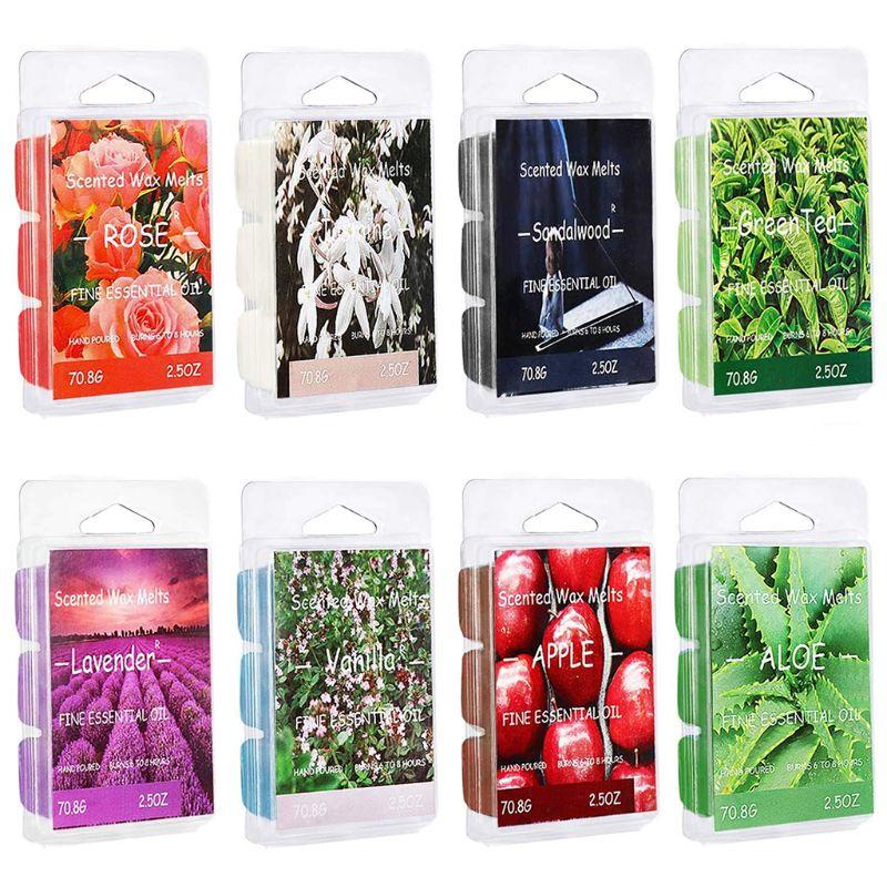 Scented Wax Melts Air Freshener, Soy Wax Warmer Cubes Apple Aloe Green Tea Sandalwood Rose Vanilla Jasmine Lavender QX2E