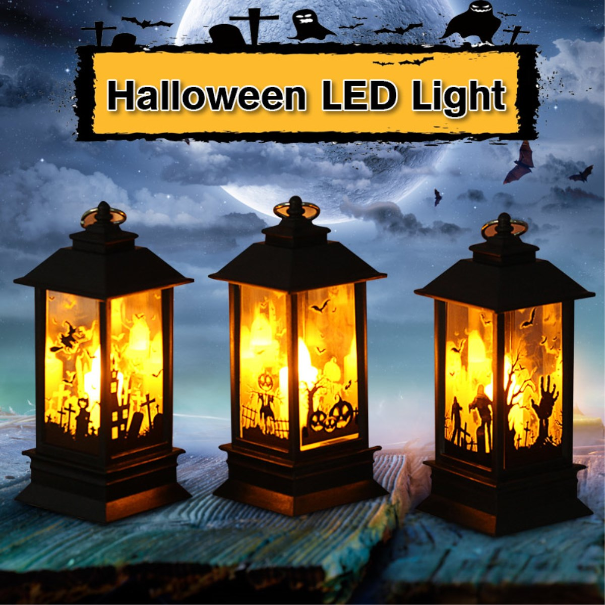 Halloween Light LED Candle Night Light Ghost Castle Pumpkin Flame Lamp Halloween Party Decoration Props Lantern Table Lamp