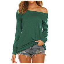 T-shirt à manches longues pour femmes, Haut à épaules dénudées, col incliné, solide, basique