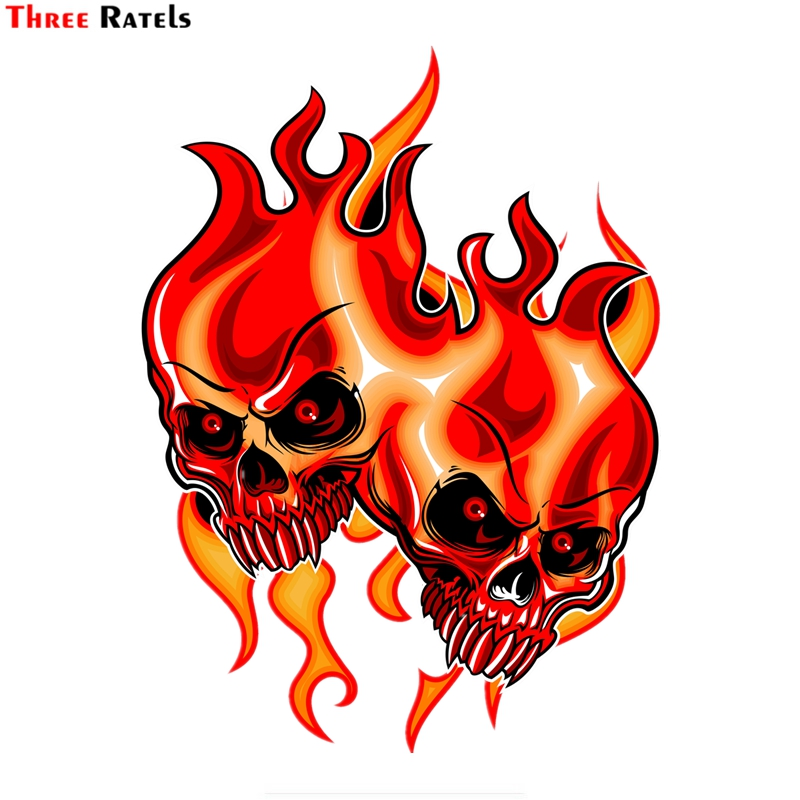 Three Ratels FTC-8921 Cartoon Skull Aces Dice Gambling Decal Pvc Motorcycle Car Decal Stickers To Diy Motorcycle Laptop Luggage