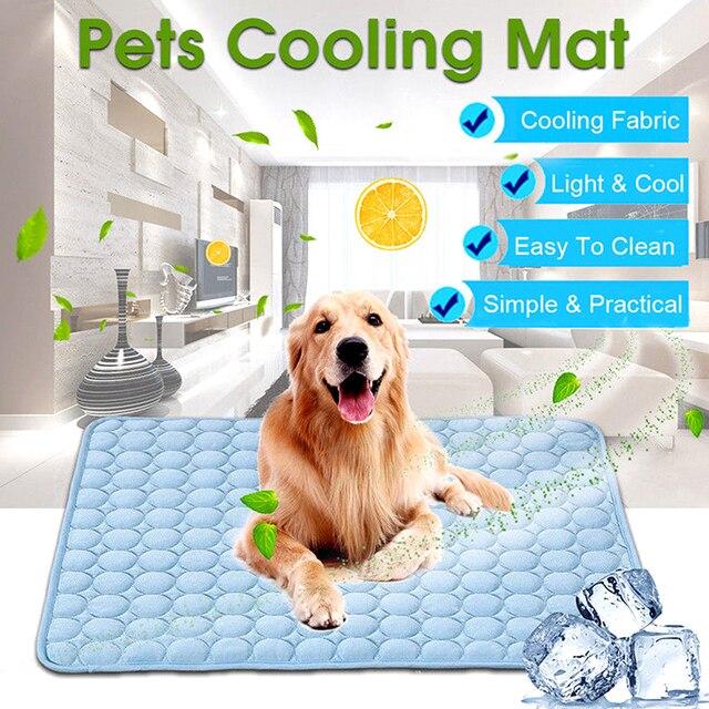Summer Dog Cooling Mat Sky Blue Ice Pad Cool Pet Beds Sofa Cushion   1