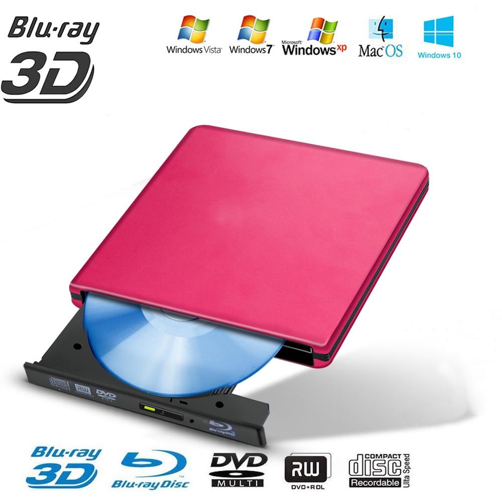 USB 3.0 External Blu-Ray BD/CD/DVD Optical Drive Player High Speed   Writer Drive Burner Polished Metal Chrome For Mac Windows