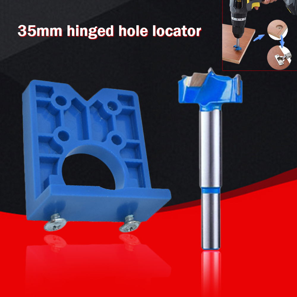 Wood Jig Locator Template  35mm Hinge Jig Hole Saw For Furniture Door Cabinet Hinge Installation Pocket Hole Jig Tool Carpentry