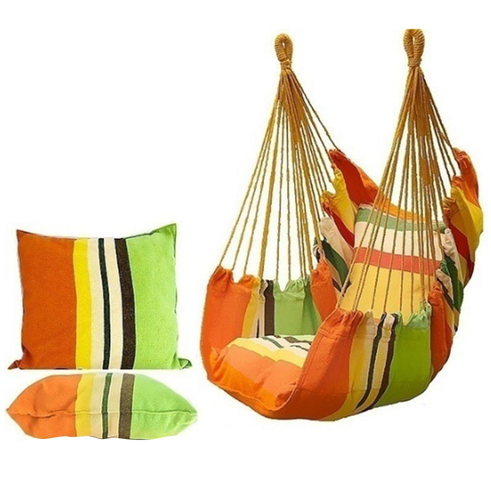 Portable Hammock Chair Hanging Rope Chair Swing with Pillows for Garden Indoor Outdoor Fashionable Hammock Swings Travel Camping