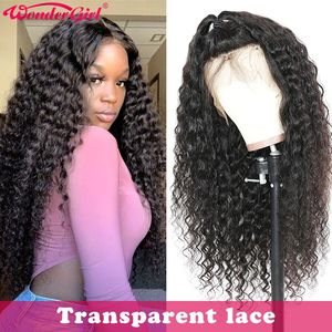 Transparent Deep Wave Wig 13x6 Lace Front Human Hair Wigs Pre Plucked Remy 360 Lace Frontal Wig Wonder girl Brazilian Lace Wig