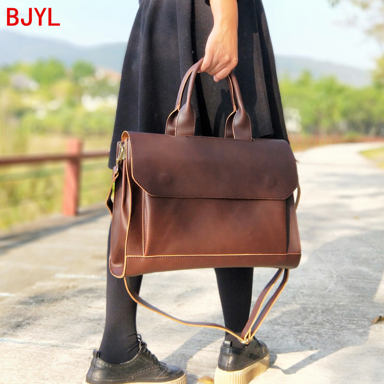 2020 New Women Handbags Ladies Business A4 File Briefcase 14 Inch Laptop Bag Female Leather Shoulder Messenger Bag Travel Bags