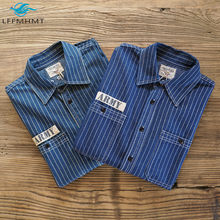 Heavyweight Mens Army Style Classical Vintage Striped Lapel Long Sleeve Cotton Shirt Male High Quality Pockets Loose Casual Tops