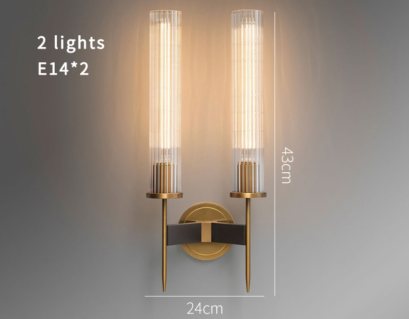 H1118dc8942614d72a16379aebbcade6d1 - Antique brass wall lamp glass cylinder shade home indoor decorative wall lights in bedroom bedside wall mounted sconce interior