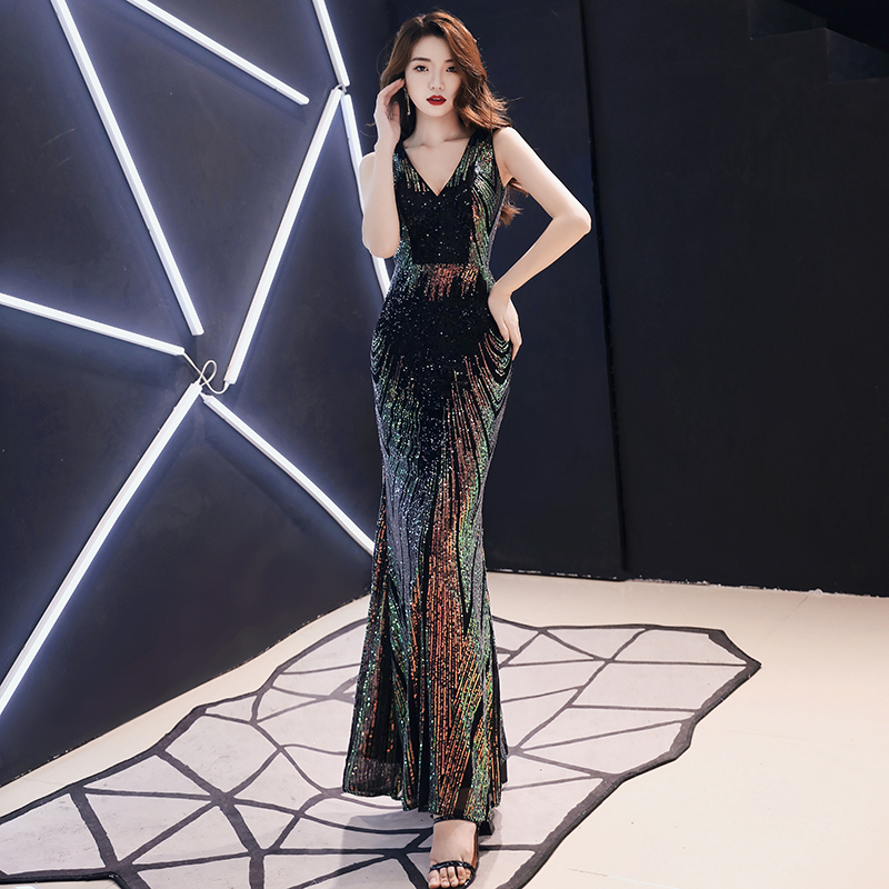 AE510 Evening Dress Long Sparkle 2020 New V-Neck Women Elegant Sequin Mermaid Maxi Evening Party Gown Dress