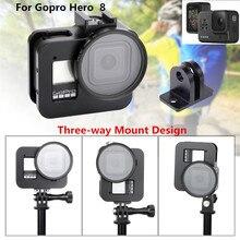 알루미늄 합금 케이지 3 방향 마운트 디자인 멀티 앵글 슈팅 케이스 GoPro Hero 8 블랙 카메라 액세서리 용 보호 프레임