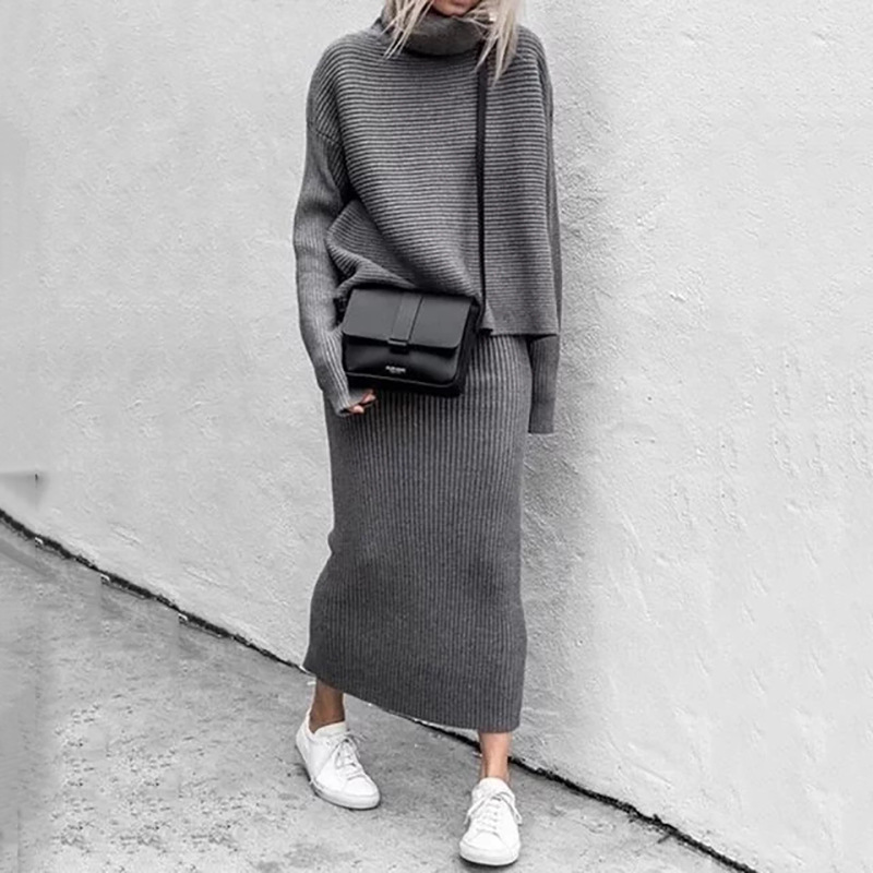 Sweater Outfits Suits-Set Long-Skirts Two-Piece-Set Women Pullovers Knitted Bodycon Loose