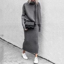 Gebreide Tweedelige Set Vrouwen Truien Coltrui Losse Trui + Lange Rokken Bodycon Outfits Voor Vrouw 2020 Office Lady Suits set