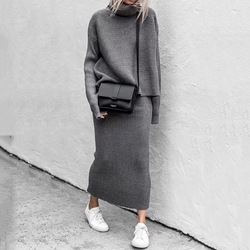 Knitted Two Piece Set Women Pullovers Turtleneck Loose Sweater+Long Skirts Bodycon Outfits for Woman 2020 Office Lady Suits Set
