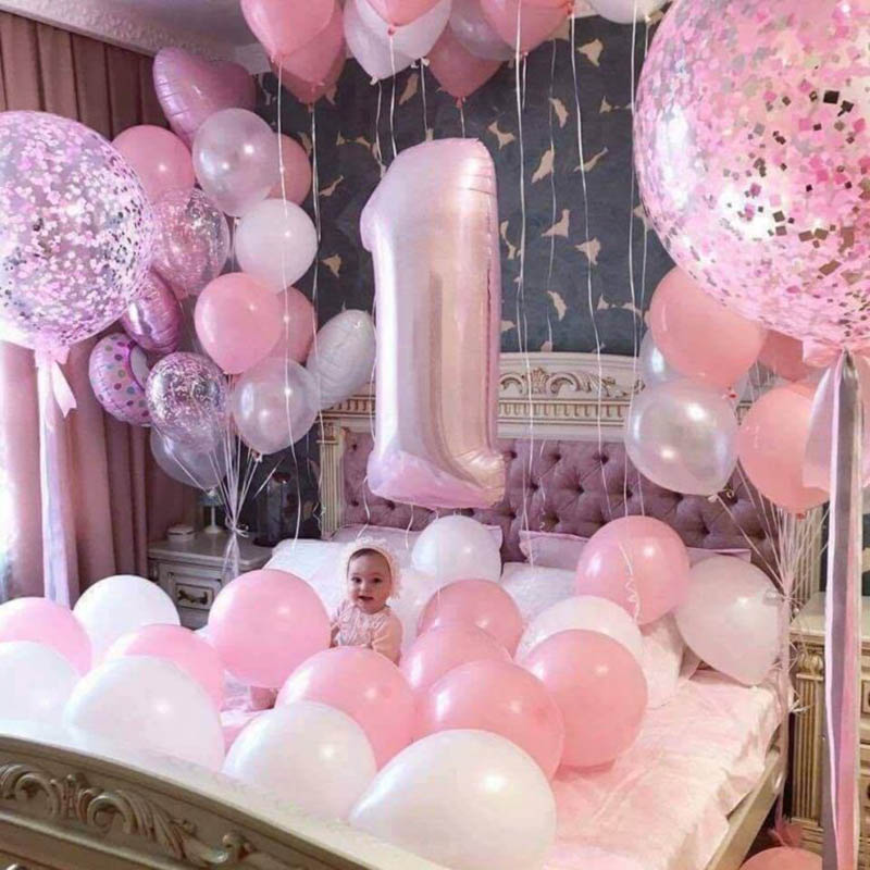 <font><b>1</b></font>-Year-Old Boy <font><b>Girl</b></font> <font><b>Birthday</b></font> Party Balloons Baby Shower Balloon 40inch Number 1st <font><b>Birthday</b></font> Party Star Confetti <font><b>Decor</b></font> Balloons image