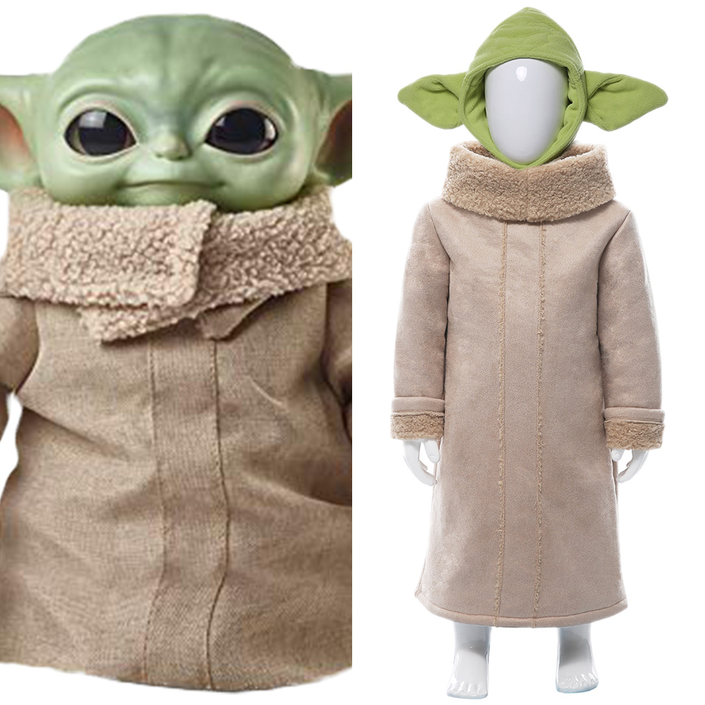 Kids Child Star War Mandalor Mandalorian Yoda Baby Robe Cosplay Costume Baby Cute Coat Hat Halloween Carnival Costumes