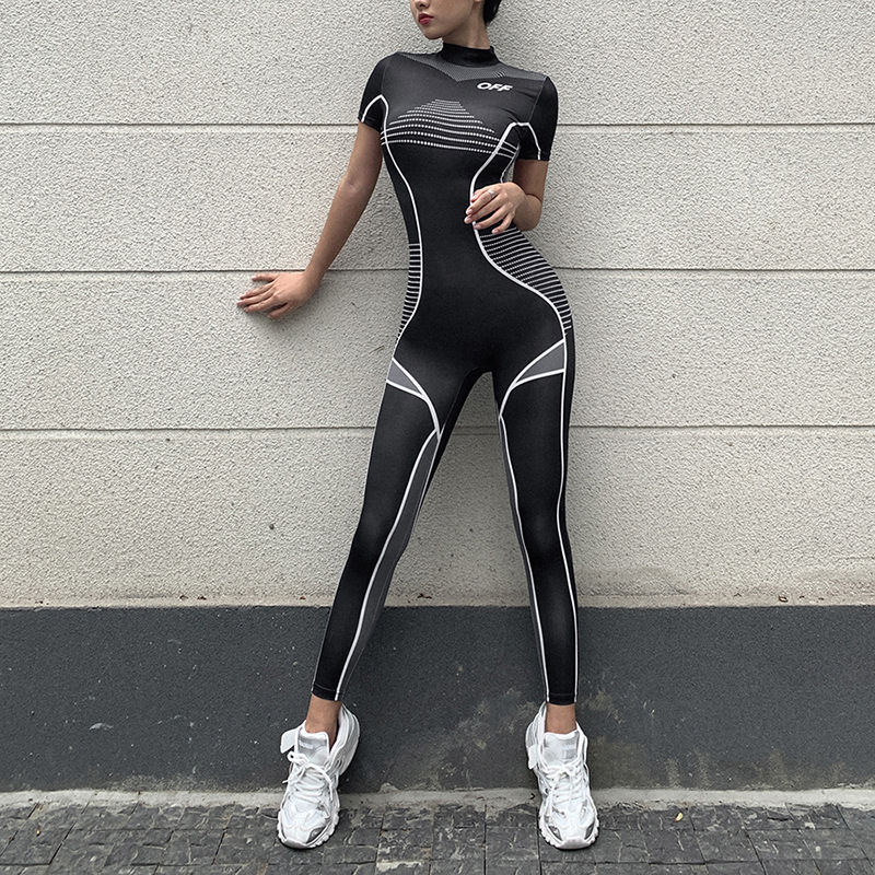Fitness Sporty Printing Wear Rompers Womens Jumpsuit High Waist Patchwork Casual Workout Short Sleeve Bodysuits Fashion 2020