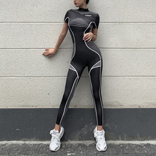 Fitness Sporty Printing Wear Rompers Womens Jumpsuit High Waist Patchwork Casual Workout Short Sleev