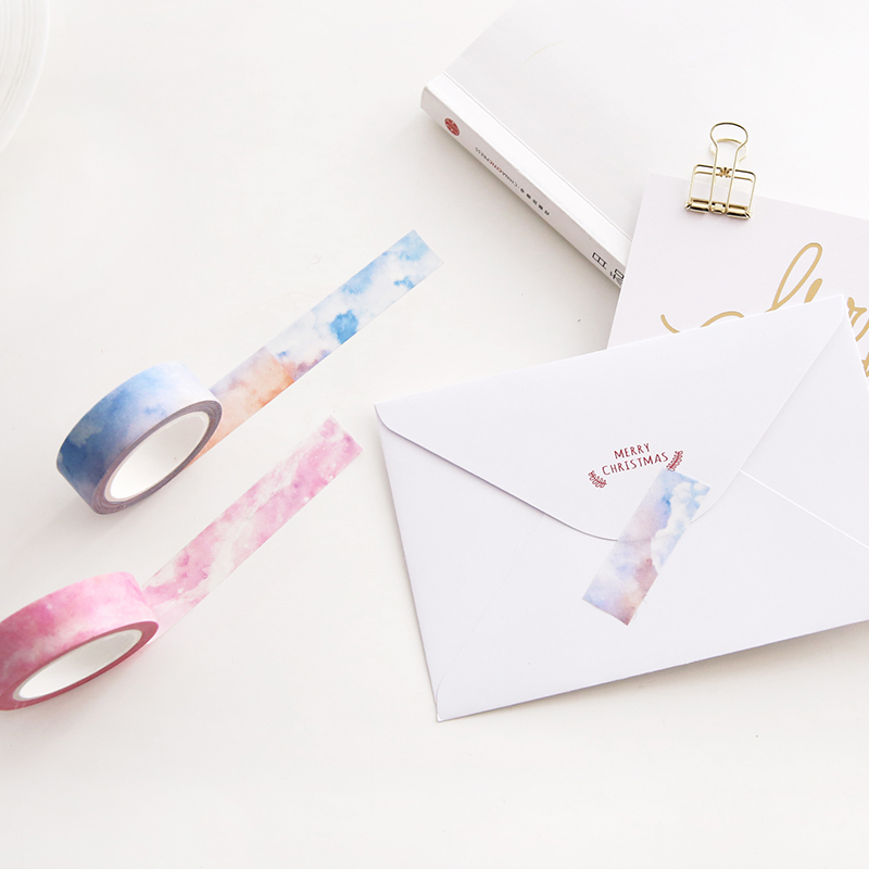 Fantasy Paper Washi Tape 15mm Full New Moon Galaxy Clear Pink Sky Color Adhesive Masking Tapes Stickers for Album Diary DIY 6187