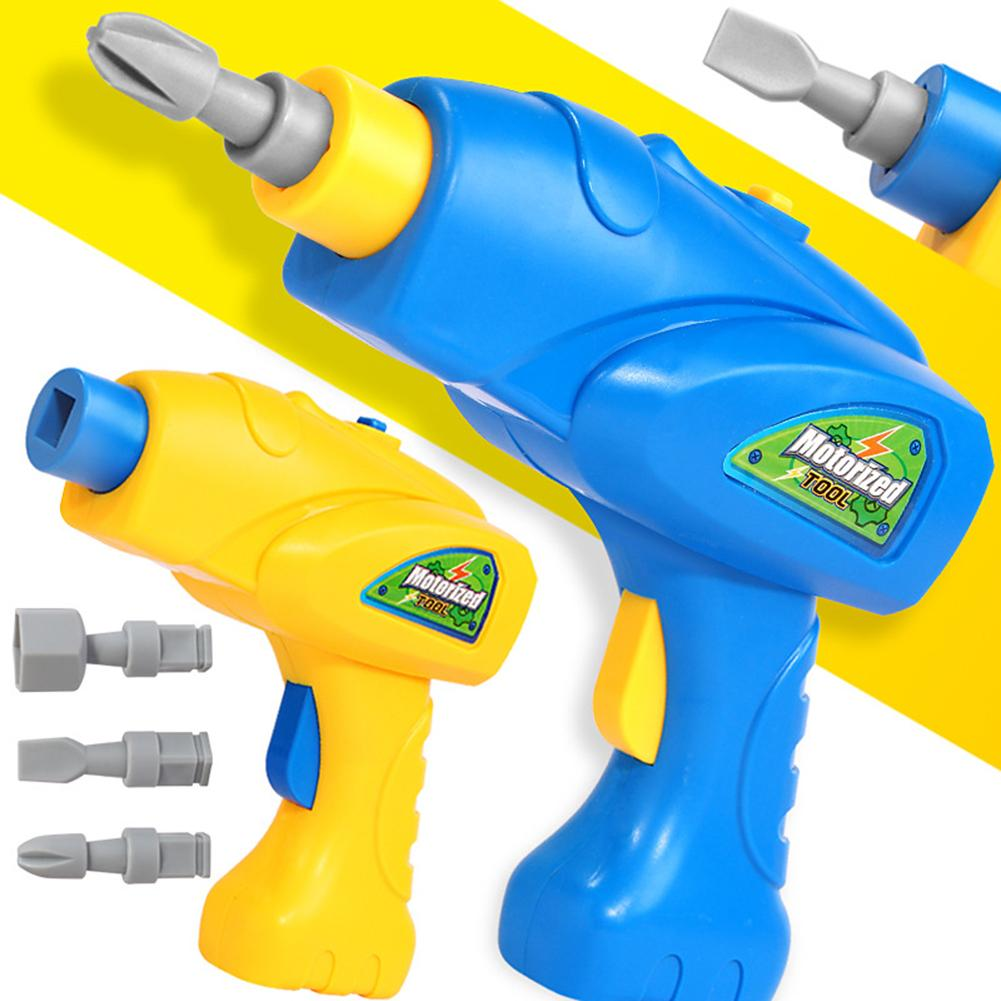 Children Electric Drill Toys Simulation Rotatable Electric Drill Bits Puzzle Tool Model Pretend Play Toy For Boys Design Gift