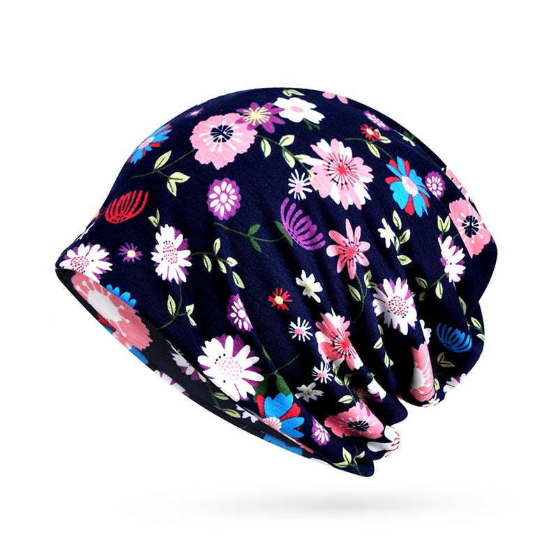Women Floral Cancer Chemo Hat Beanie Scarf Turban Head Wrap Cap Cotton Casual Fitted Knitted Hat For Women High Quality