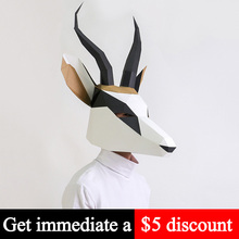 Toy Paper-Model Head-Mask Papercraft Low-Poly Cosplay-Prop Animal DIY Adult Gazelle Antelope