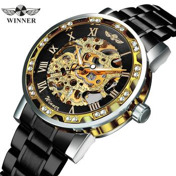 цена на WINNER Classic Dress Mechanical Watch Men Stainless Steel Strap Skeleton Dial Fashion Mens Watches Top Brand Luxury Clock