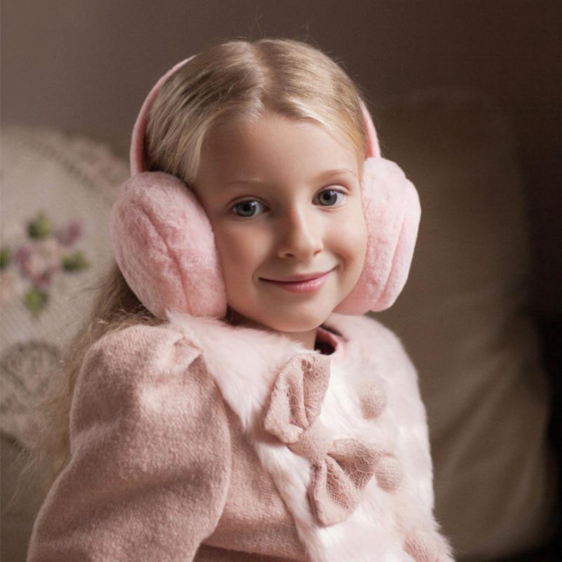Children Winter Solid Color Fur Earmuffs For Boys And Girls Ear Warmer Headphones And Comfortable Fashion Ski Kids Earmuffs