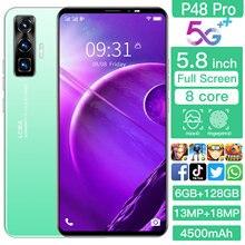 New P48pro 5.8inch 6+128G 13MP+18.0MP Camera 4500mAh Cellphone Big battery Dual SIM Support T-Flash Card 4 5G Smartphone