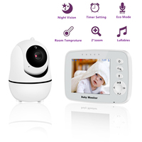 Wireless Baby Monitor,3.2 inch LCD Screen Display Infant Night Vision Camera,Temperature Sensor , Supports shaking head rotation