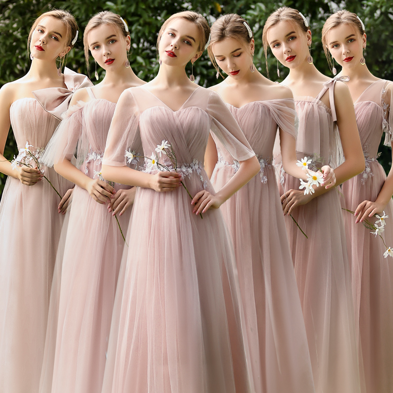 Burgundy Bridesmaid Dresses Pink Tulle Long Dress For Wedding Party For Woman Boat Neck Sexy Prom Dress Vestido De Festa Longo