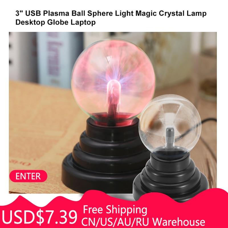 ICOCO 3 Inch USB Plasma Ball Electrostatic Sphere Light Lamp Ball Touch Sensitive Transparent Desktop Lights Decor