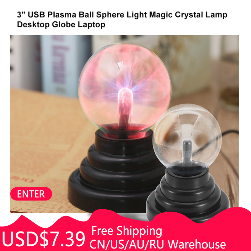 ICOCO 3 Inch USB Plasma Ball Electrostatic Sphere Light Magic Crystal Lamp Ball Touch Sensitive Transparent Desktop Lights Decor