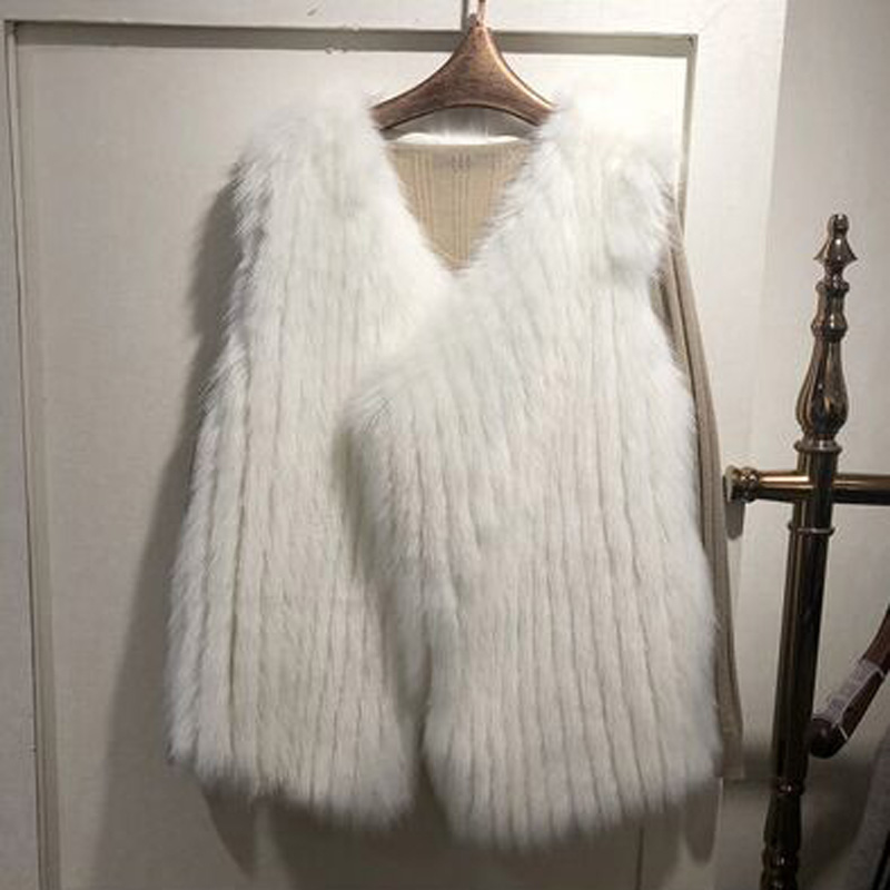 Новинка, Осень-зима, Свободный жилет из лисьего меха, составленный жилет из искусственного меха, Женский Длинный Меховой жилет, плюшевое пальто