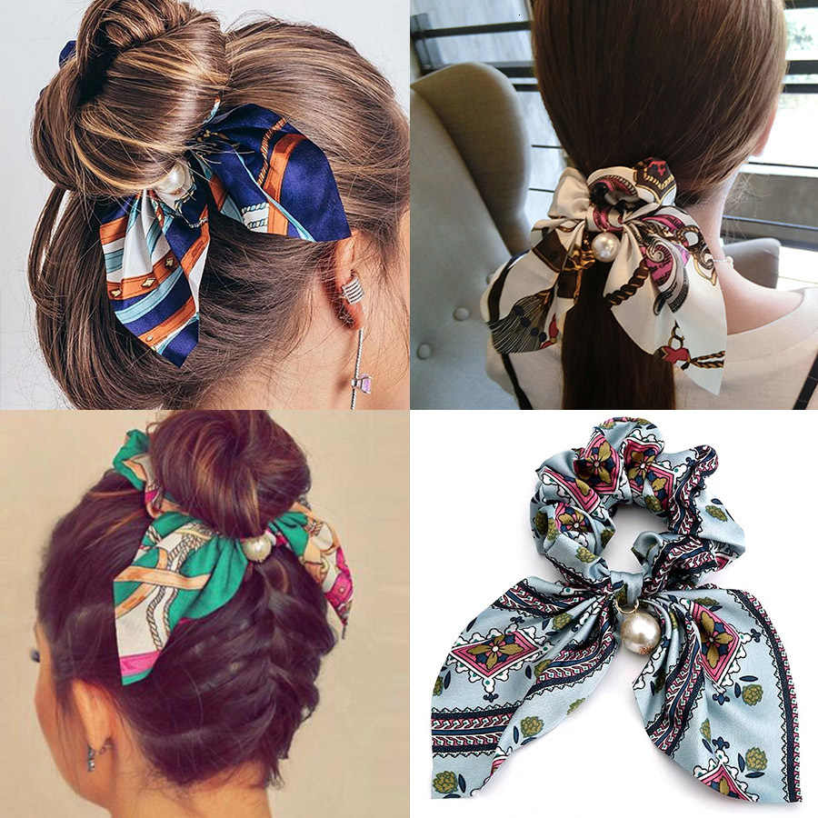 Fashion Bowknot Ponytail Holder Scrunchies Jewelry Elastic Printing Hair Accessories Women Scarf Tie Hairband Ribbon Headwear