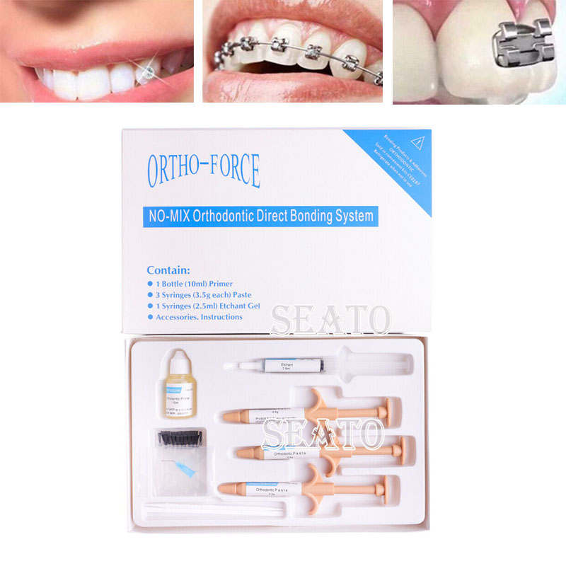 Orthodontic Dental Direct Bonding System No-mix Mini Kit Adhesive 3 Paste& 1 Gel/1 Paste& 1 Gel