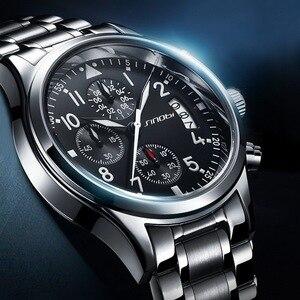 Image 3 - SINOBI Männer Wasserdichte Edelstahl Uhren Luxus Pilot Quarz Handgelenk Uhren Taucher Uhr Montre Homme relogio 2019