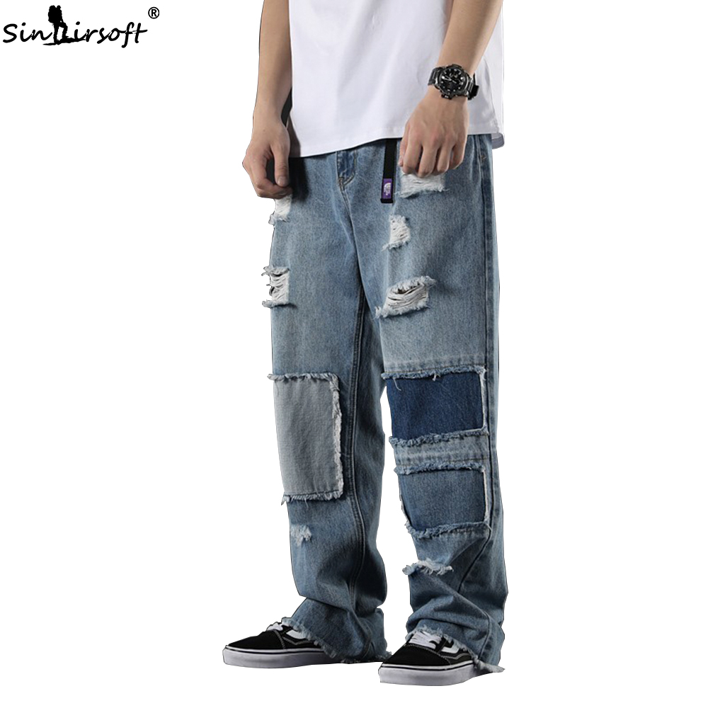 Men's Patchwork Wide Leg Denim Full Pants Male High Waist Hole Hip Hop   Jeans   Men Loose Streetwear Trousers Summer New